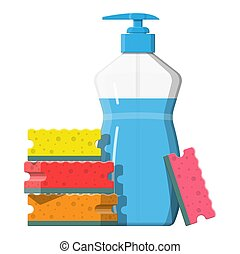 Bottle with dispenser and sponge. Washing sponge....