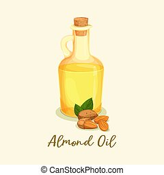 Bottle with golden almond oil or jar near nuts