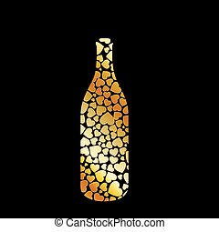 bottle with golden hearts