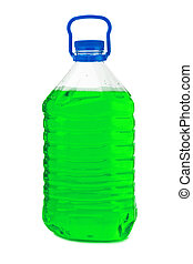 Bottle with green liquid