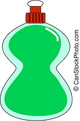 Bottle with green soap, illustration, vector on white background.