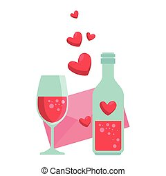 bottle with heart and envelope