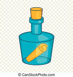 Bottle with letter icon, cartoon style