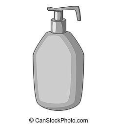 Bottle with liquid soap icon monochrome