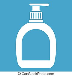 Bottle with liquid soap icon white