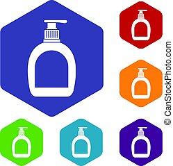 Bottle with liquid soap icons set hexagon