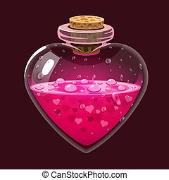 Bottle with love potion. Icon magic elixir. Design for app user interface. Design elements for Valentines day.