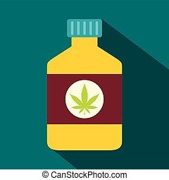 Bottle with medical marijuana icon, flat style