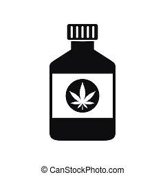 Bottle with medical marijuana icon
