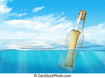 Bottle with message float at ocean - Bottle with message...