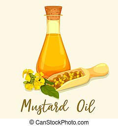 Bottle with mustard oil with seeds in scoop