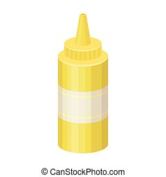 Bottle with mustard.Burgers and ingredients single icon in cartoon style vector symbol stock illustration.