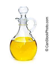 Bottle with oil - Vegetable oil bottle isolated on white...