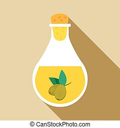 Bottle with olive oil icon, flat style