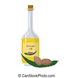 Bottle with pecan oil with seeds and leaf. Glass Packaging ...