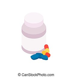 Bottle with pills icon, isometric 3d style