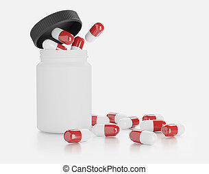 bottle with pills. Isolated on white background