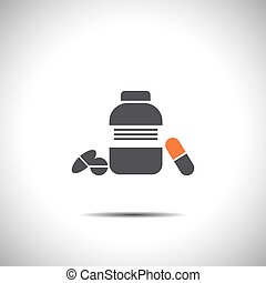 bottle with pills vector logo icon