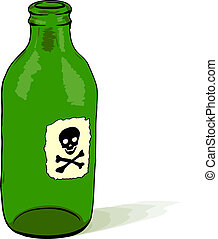 Bottle with poison symbol - vector