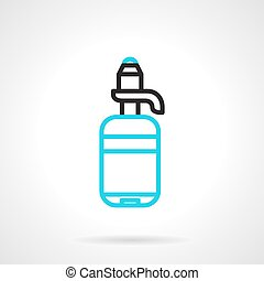 Bottle with pump line vector icon - Flat line design vector...