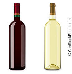 bottle with red and white wine illustration