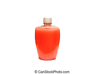 Bottle with red liquid for skin care isolated on a white background