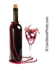 bottle with red wine and decoration for christmas