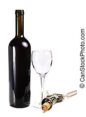 bottle with red wine glass and cork-screw