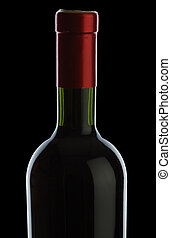 bottle with red wine isolated