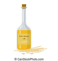 Bottle with rice bran oil and stalks vector illustration. ...