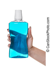 bottle with rinse aid for mouth in hand on white isolated...