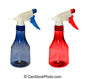 Bottle with spray head, isolated on a white background.
