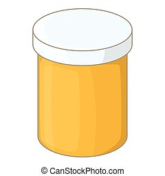 Bottle with tablets icon, cartoon style
