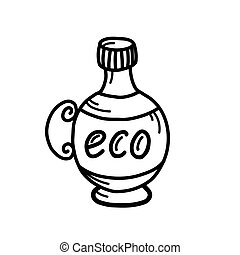 bottle with the inscription eco on a white background. vector illustration in Doodle style