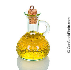 Bottle with vegetable oil close-up isolated on white.