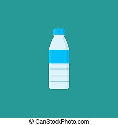 Bottle with water isolated on blue background