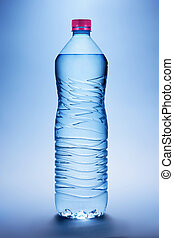 Bottle with water on a blue background