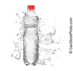 Bottle with water splash