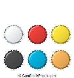 bottlecaps, färger, isolerat