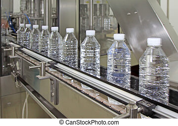 bottled mineral water production line in a factory