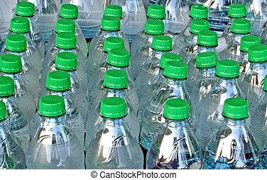 Bottled Water being stored for Disaster Preparedness.