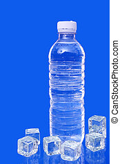 Bottled water and ice cube on blue background.
