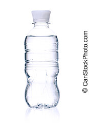 Bottled water for healthy life over a white background