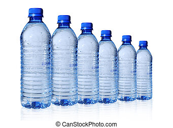 Bottled water in 6 sizes isolated over a white background