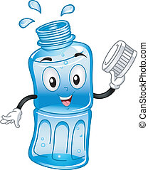 Bottled Water Mascot - Mascot Illustration Featuring a Water...
