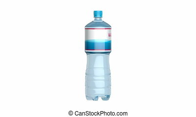 Bottled water spins on white background