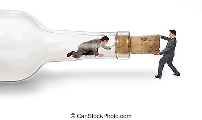 bottleneck - A businessman trapped inside a bottle trying to...