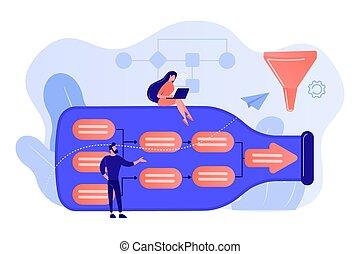 bottleneck, vettore, illustration., analisi, concetto
