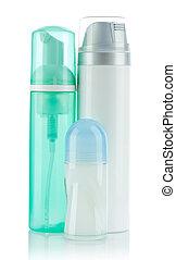 bottles and deodorant