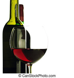 Bottles and glass of red wine